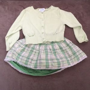 Girls Children's Place cardigan and skirt set